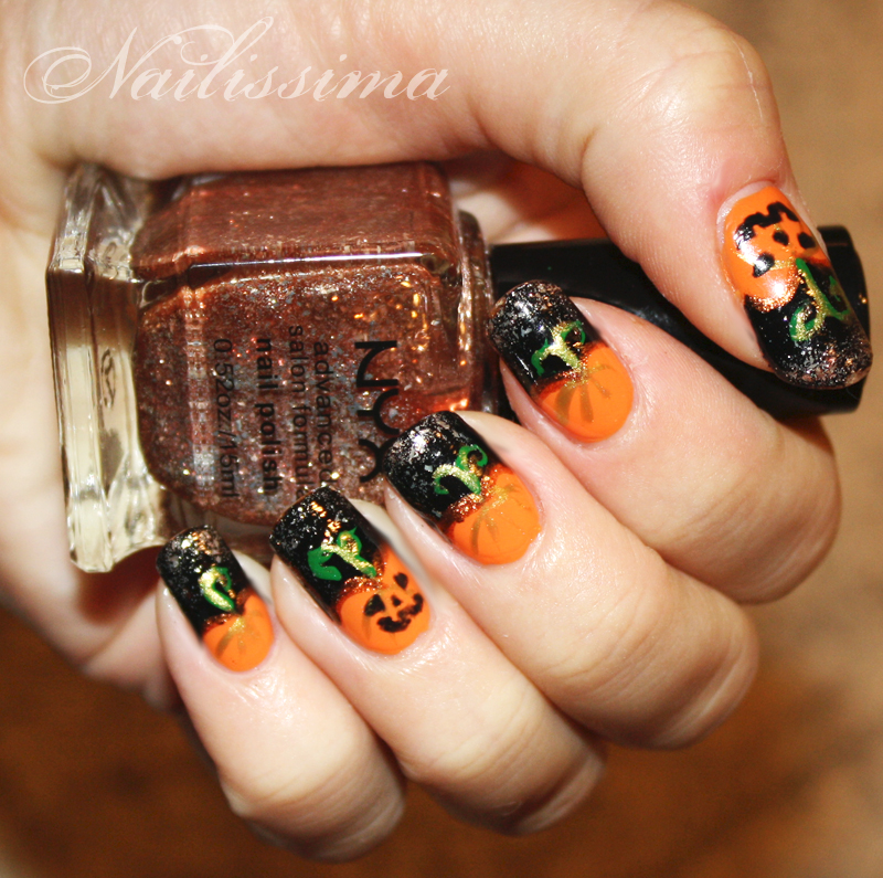 tuto d co citrouille halloween nailissima 100 nail art. Black Bedroom Furniture Sets. Home Design Ideas